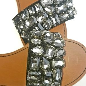 Gemstone Embellished Women's Mule Flats